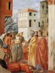 Фреска | Мазаччо | Раздача имущества и смерть Анании