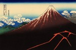 Гравюра | Кацусика Хокусай | 36 видов горы Фудзи | Гроза у подножья вершины, 1821