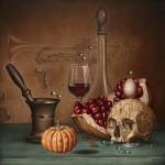Живопись | Андрей Горенков | Натюрморт с изящным черепом и исчезающей трубой