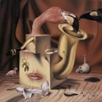 Живопись | Андрей Горенков | Натюрморт с розовым фламинго