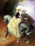 Акварель | Карл Брюллов | Всадники. Парный портрет Е. Мюссара и Э. Мюссар, 1849