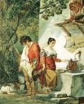 Акварель | Карл Брюллов | Прерванное свидание (Вода уж чрез край бежит), 1827