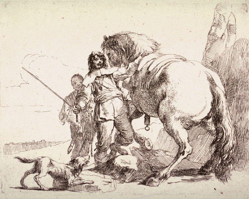 Наездник на лошади рисунок