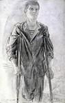 Графика | Дмитрий Белюкин | Раны Афганистана | Михаил Русак на костылях, 1987