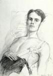 Графика | Дмитрий Белюкин | Раны Афганистана | Смертельно раненый. Сержант ВДВ Сергей Казаченко, 1987