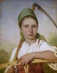 Живопись | Алексей Венецианов | Крестьянка с косой и граблями. (Пелагея), 1820-е