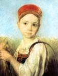 Живопись | Алексей Венецианов | Крестьянская девушка с серпом во ржи, 1820-е