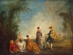 Живопись | Жан Антуан Ватто | Затруднительное предложение, 1715-16
