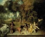 Живопись | Жан Антуан Ватто | Общество в парке, 1718-19