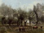 Живопись | Камиль Коро | Женщины на поле с ивами, 1860-65