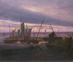 Живопись | Каспар Давид Фридрих | Корабли вечером в порту, 1828