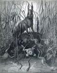 Иллюстрация | Гюстав Доре | Жан де Лафонтен | Заяц и Лягушки