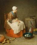Живопись | Жан-Батист Симеон Шарден | Девушка за чисткой овощей, 1738-40