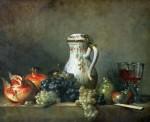 Живопись | Жан-Батист Симеон Шарден | Натюрморт с виноградом и гранатами, 1763