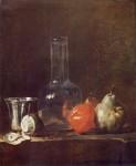Живопись | Жан-Батист Симеон Шарден | Натюрморт с графином и фруктами, 1750