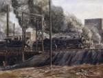 Живопись   Реджинальд Марш   Locomotives, Jersey City, 1934