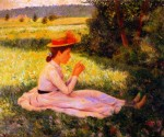 Живопись   Федерико Дзандоменеги   Отдых на лугу (Девочка в поле)
