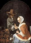 Живопись | Франц ван Мирис Старший | Мужчина и женщина с двумя собаками, 1660