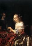 Живопись | Франц ван Мирис Старший | Нанизывающая бусы, 1680