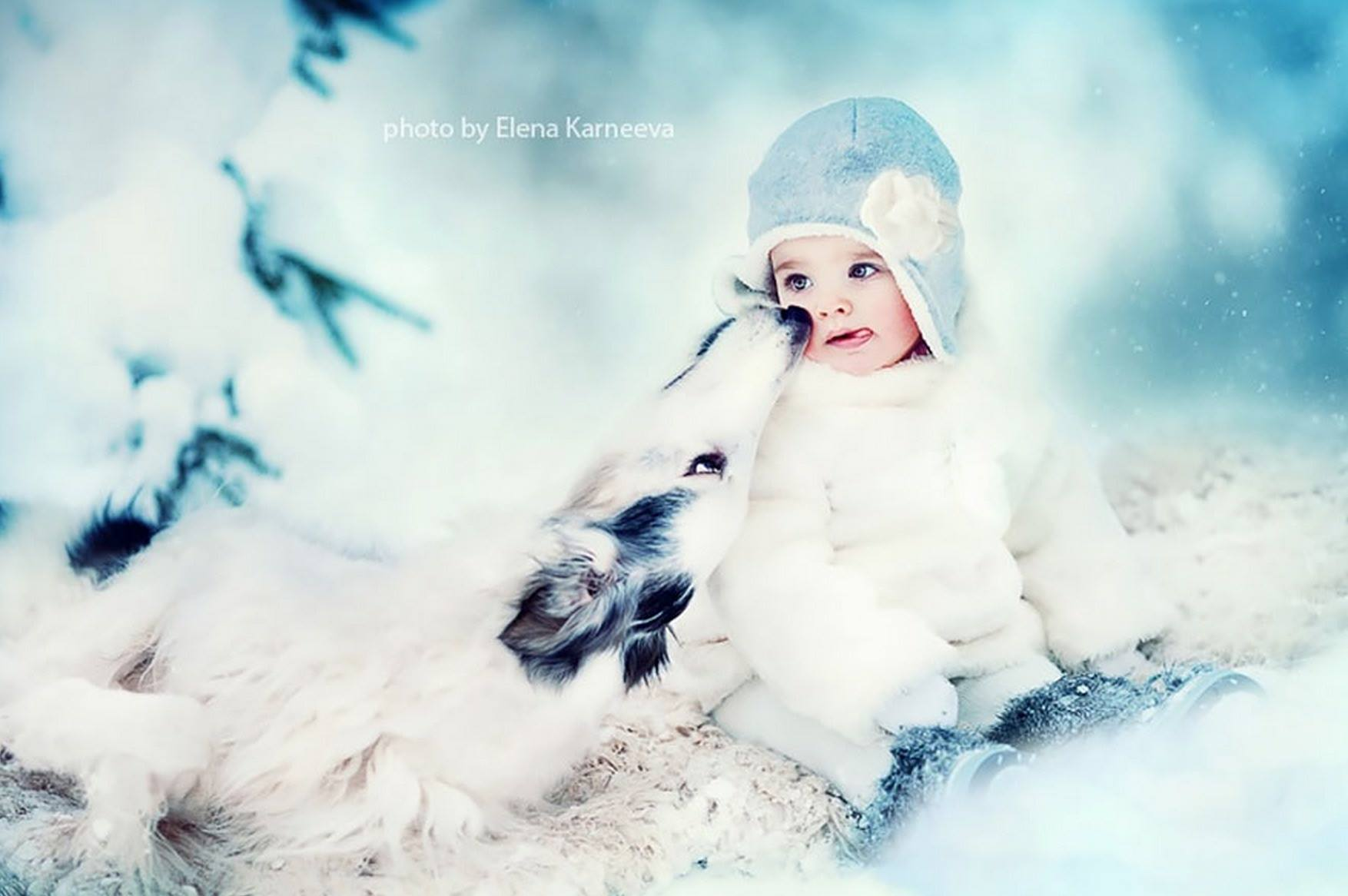 Фото детей зимой с животными