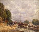 Живопись | Альфред Сислей | Баржи в Бийянкуре, 1877