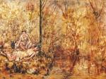 Живопись | Михаил Ларионов | Две девушки на берегу ручья