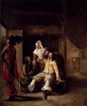 Живопись | Питер де Хох | Два солдата, служанка и трубач, 1655