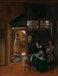 Живопись | Питер де Хох | Женщина, готовящая бутерброд мальчику, 1661