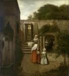 Живопись | Питер де Хох | Женщина и дети во дворе, 1660