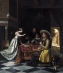 Живопись | Питер де Хох | Игроки в карты за столом, 1672