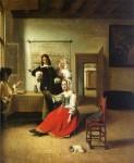 Живопись | Питер де Хох | Молодая женщина, пьющая с солдатами, 1658