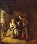 Живопись | Питер де Хох | Служанка и солдат, 1653