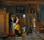 Живопись | Питер де Хох | У бельевого шкафа, 1663