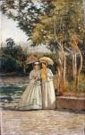Живопись | Сильвестро Лега | Прогулка в саду, 1870