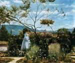 Живопись | Сильвестро Лега | Среди цветов в саду, 1883