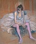 Живопись | Анри де Тулуз-Лотрек | Сидящая танцовщица в розовом трико, 1890