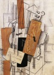 Живопись   Жорж Брак   Скрипка и ноты на столе, 1913