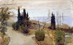 Живопись | Исаак Левитан | Садик в Ялте. Кипарисы, 1886