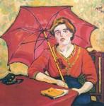 Живопись | Макс Пехштейн | Девушка в красном с зонтом, 1909
