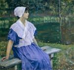 Живопись | Михаил Нестеров | Девушка у пруда (Портрет Н.М. Нестеровой), 1923