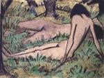 Живопись   Отто Мюллер   Две девушки среди зелени, 1925