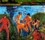Живопись | Эрих Хеккель | Купальщицы в камышах, 1909
