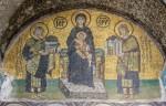 Мозаика | Собор Святой Софии | Императоры Константин и Юстиниан перед Богородицей