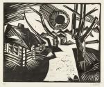 Гравюра | Карл Шмидт-Ротлуф | Русский пейзаж с солнцем, 1919