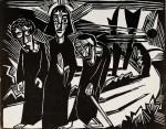 Гравюра | Карл Шмидт-Ротлуф | Христос с учениками по дороге в Эммаус, 1918