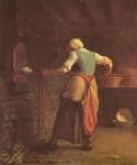 Живопись | Жан-Франсуа Милле | Женщина, пекущая хлеб, 1854