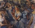 Живопись | Зинаида Серебрякова | Девочки-сильфиды (Балет «Шопениана»), 1924