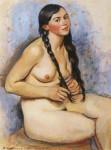 Живопись | Зинаида Серебрякова | Заплетающая косу, 1930