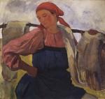 Живопись | Зинаида Серебрякова | Крестьянка с коромыслом, 1916-1917