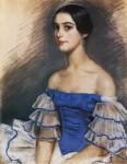 Живопись | Зинаида Серебрякова | Портрет Е.Н. Гейденрейх в голубом, 1923